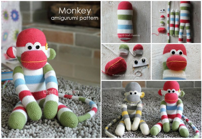 How to DIY Crochet Amigurumi Sock Monkey with Free Pattern ...