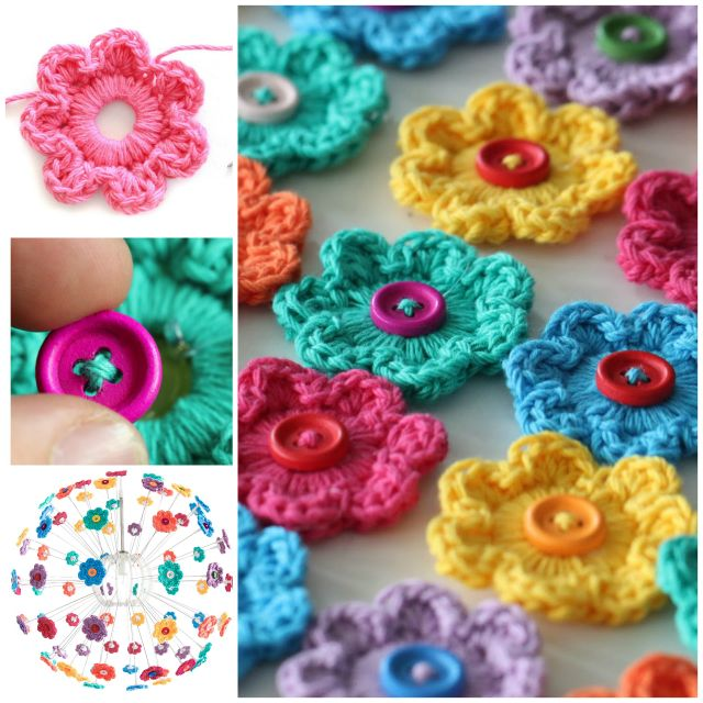 DIY Crochet Button Floral Wall Art Free Crochet Patterns