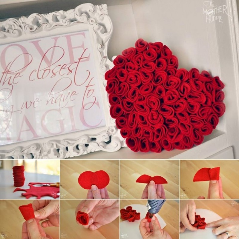 Diy easy felt roses heart decoration for Decoration or rose