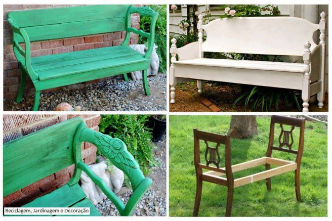 DIY Garden Bench from Dining Chairs