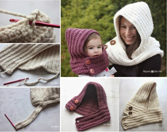 Crochet Patterns Scarfie Yarn : DIY Hooded Crochet Cowl Scarfie Free Pattern