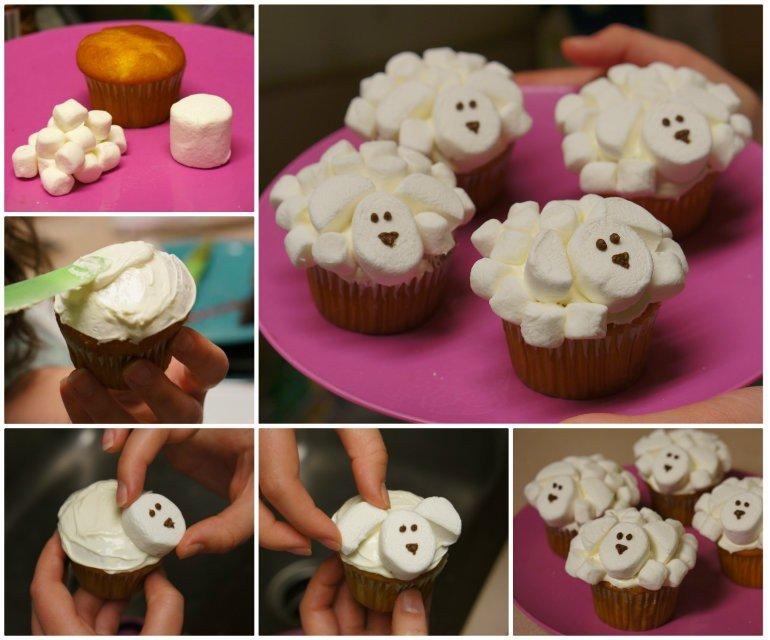 DIY Marshmallow Sheep Cupcakes1