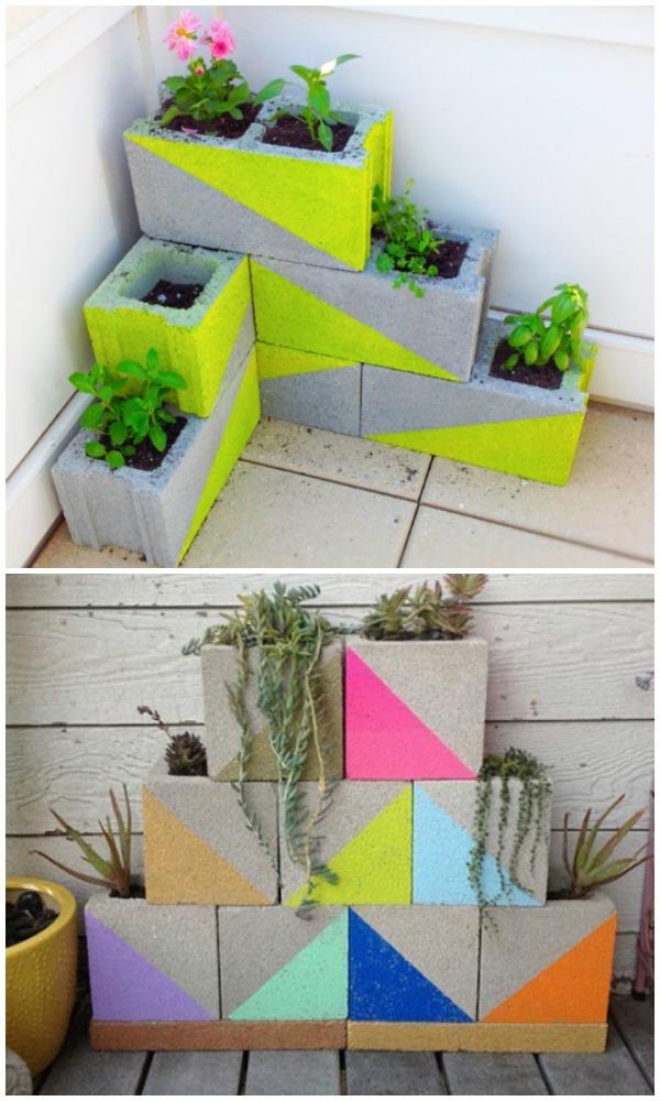 DIY Modern Neon Cinder Block Garden Planter