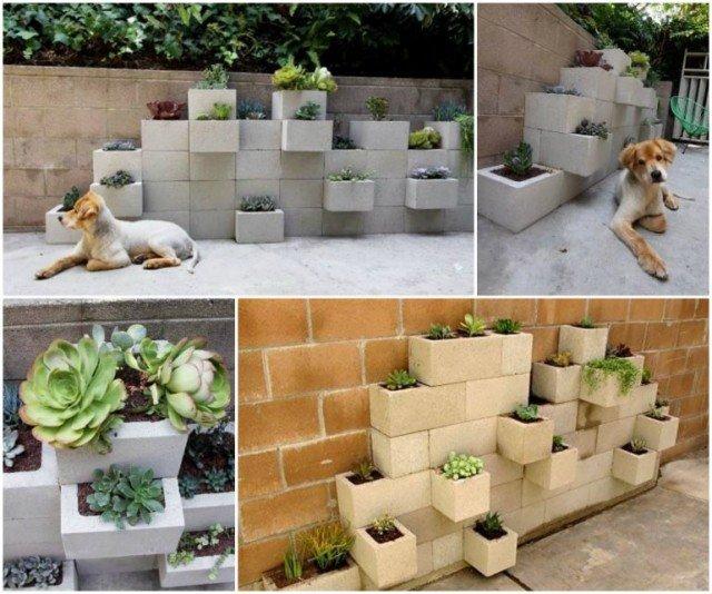 DIY Space Saving Cinder Block Garden Planter
