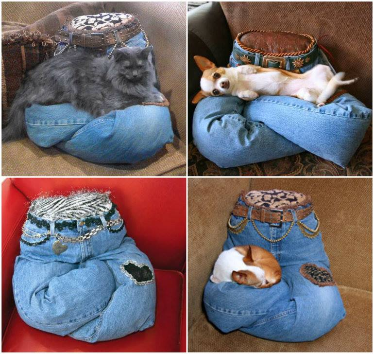 Fabulous diy idea sew pet pillow from recycled jeans for Homemade cat bed