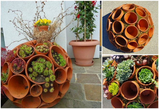 DIY Succulent Clay Pot Planter Sphere Garden Art