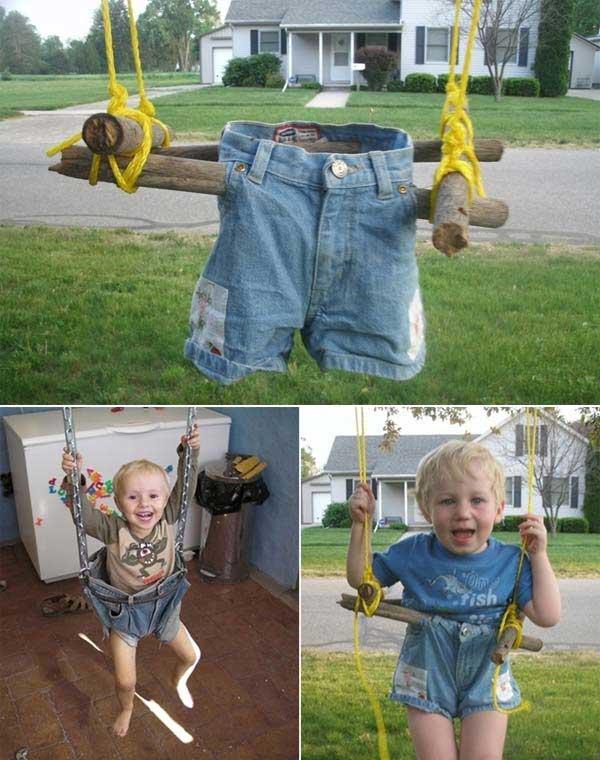 Fabulous DIY Patio and Garden Swings Ideas1-Cool denim swings for kids