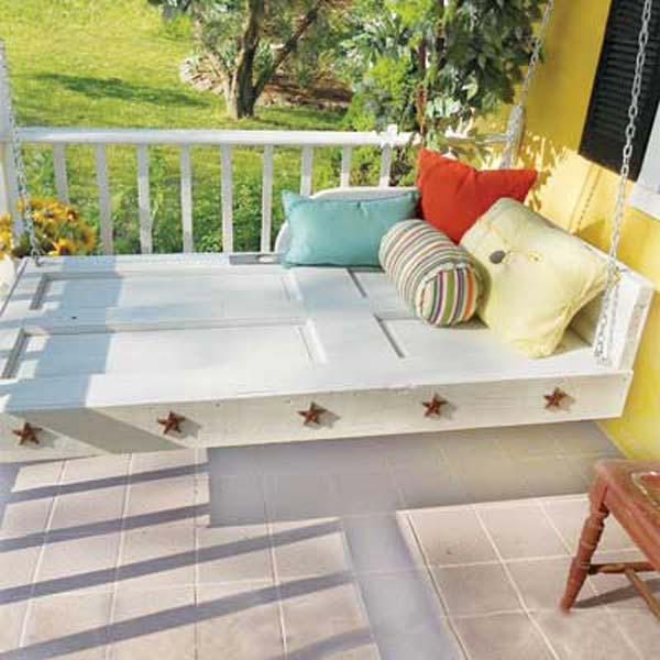 Fabulous DIY Patio and Garden Swings07-Old Door to Hanging Daybed