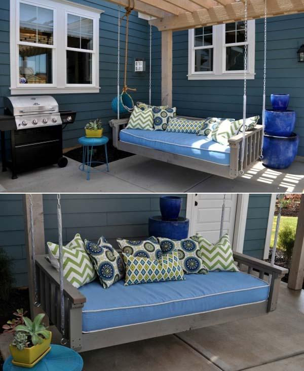 Fabulous DIY Patio and Garden Swings13- Hanging bed Swing