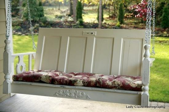 Fabulous DIY Patio and Garden Swings17-Repurposed Galore Door Porch Swing