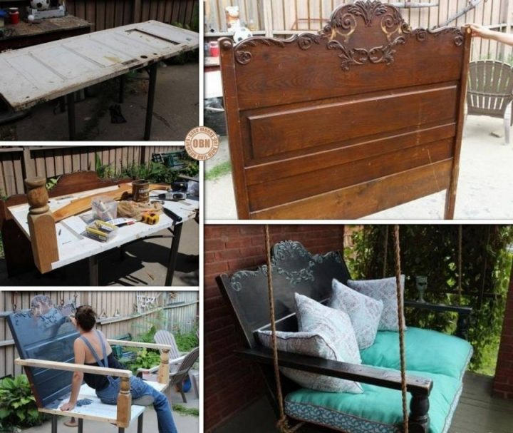 Fabulous DIY Patio and Garden Swings-Headboard Porch Swing