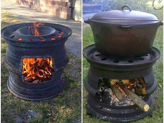 How To DIY A Fire Pit BBQ Out of Car Wheels