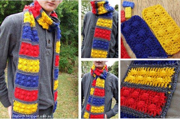DIY Crochet Lego Scarf Free Pattern