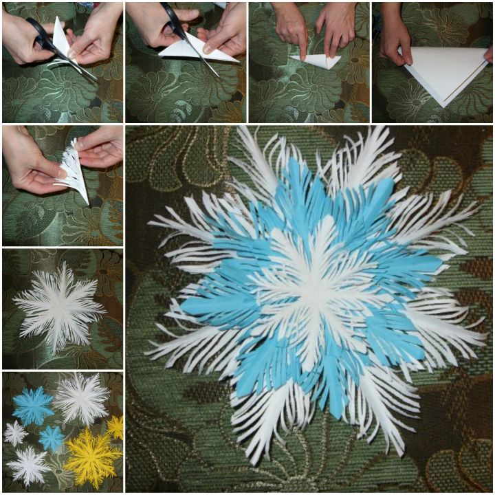 How to DIY Paper Feather Snowflake