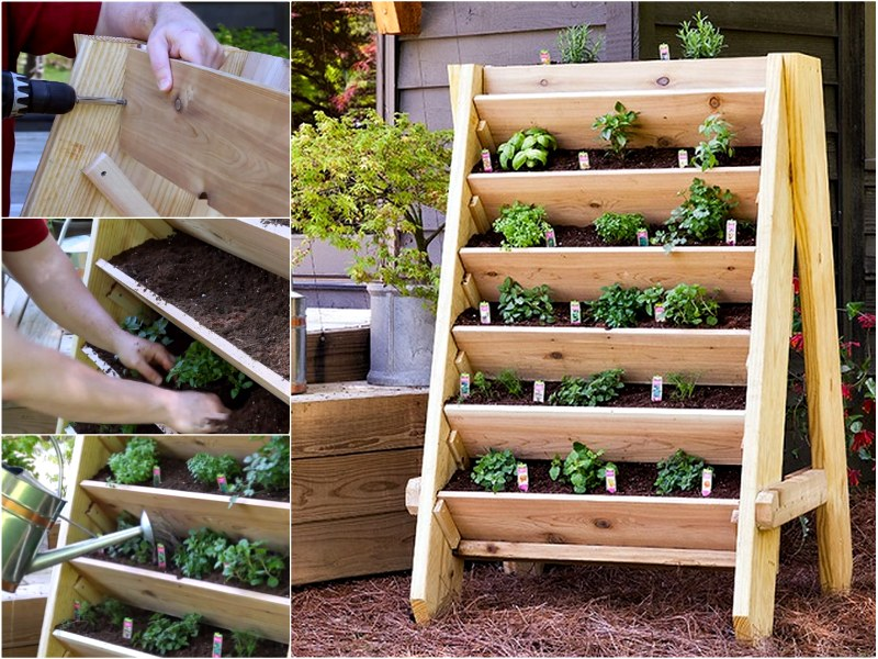 How to diy vertical wall garden planter for Vertical garden planters diy