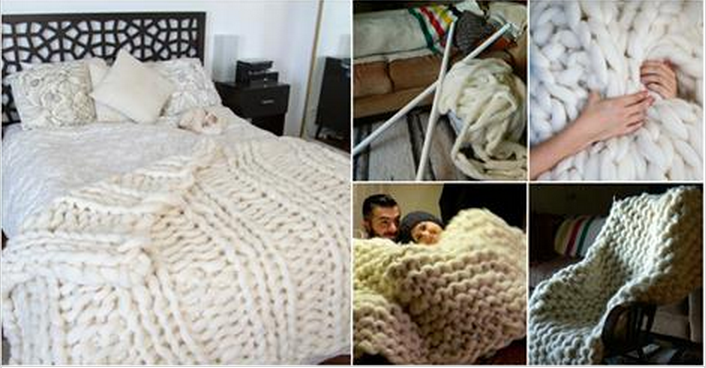 How to knit cozy giant blanket with pvc pipes for How to make a big chunky knit blanket