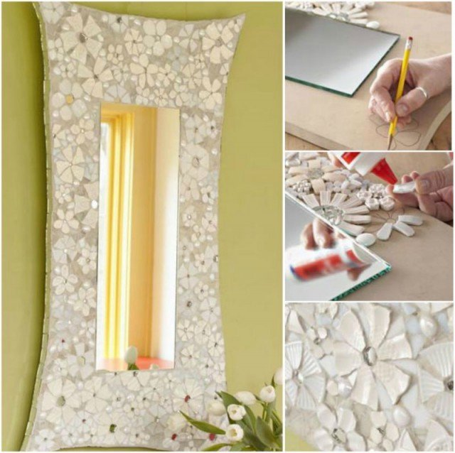 DIY Mosaic Flower frame from Recycled Ceramic