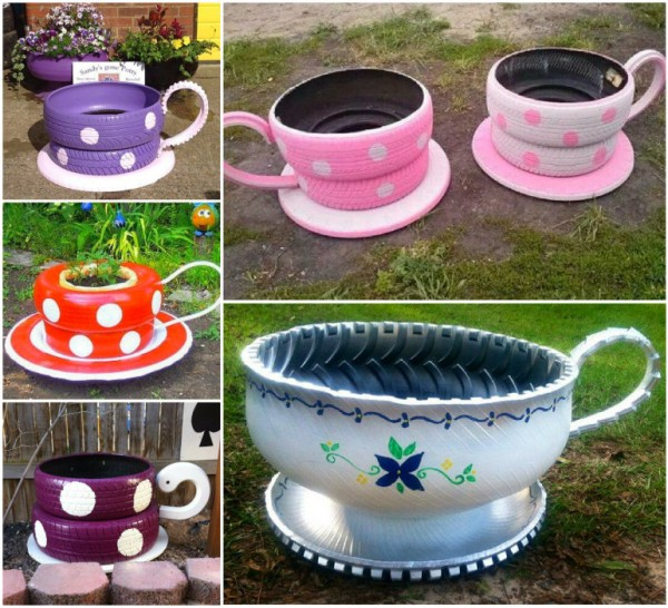 Diy recycled tire teacup planters video for Easy recycled materials
