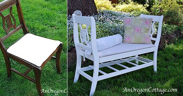 Upcycle 2 Dinning Chair Into Garden Bench Instruction Tutorial