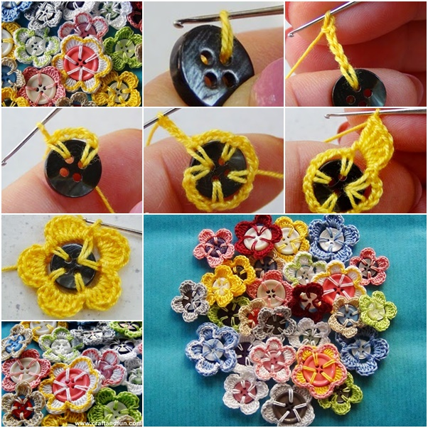 Crochet Button Flower free Crochet Patterns