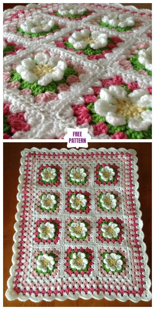 Croche Easy Daisy Granny SquareFree Crochet Pattern