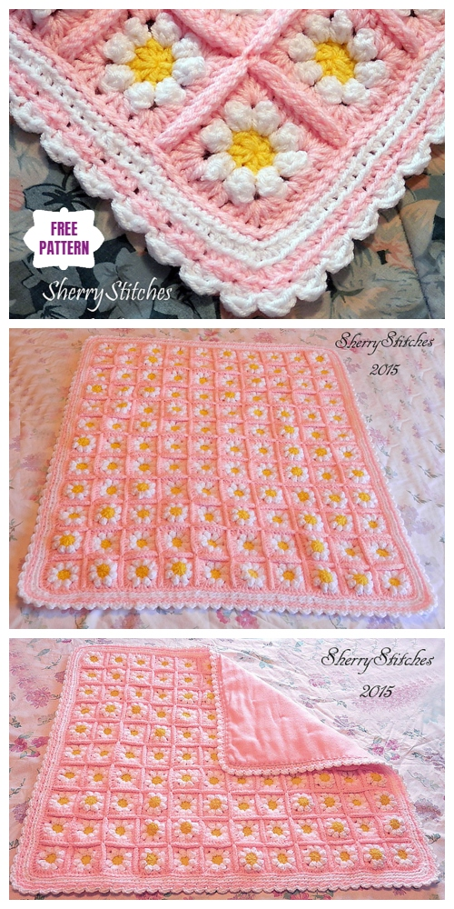 Crochet Princess Daisy's Flower Blanket Free Crochet Pattern