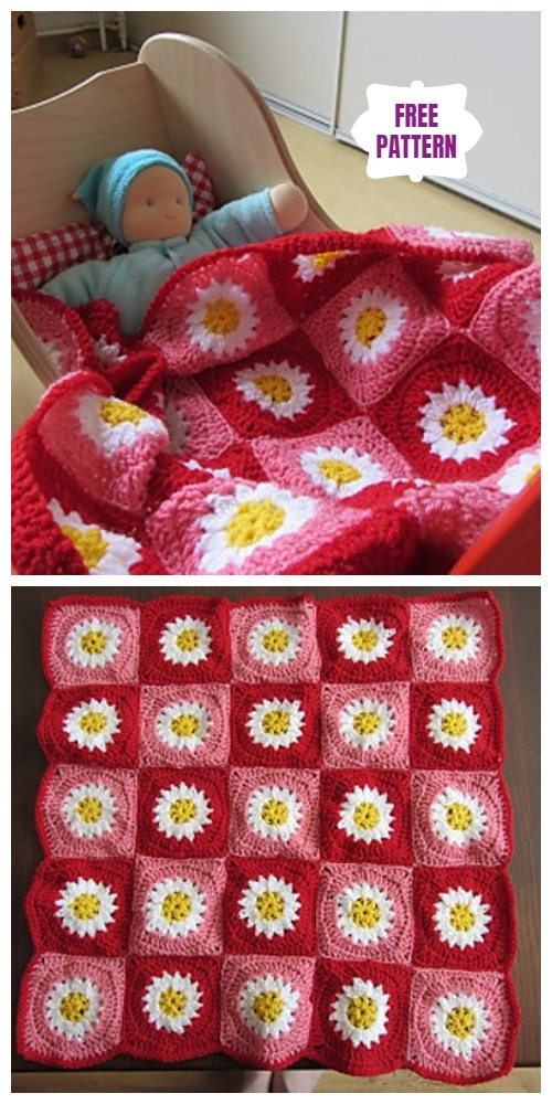 Crochet Daisy Doll Blanket Square Free Crochet Pattern