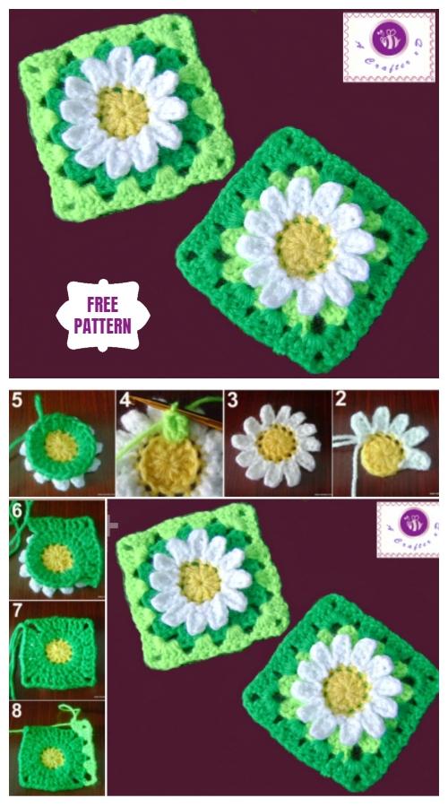 Crochet Wild Daisy Granny Square Free Crochet Pattern