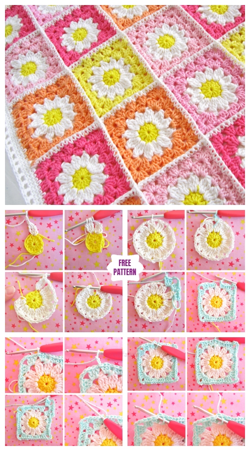 Crochet Daisy Flower Square Blanket Free Crochet Patterns