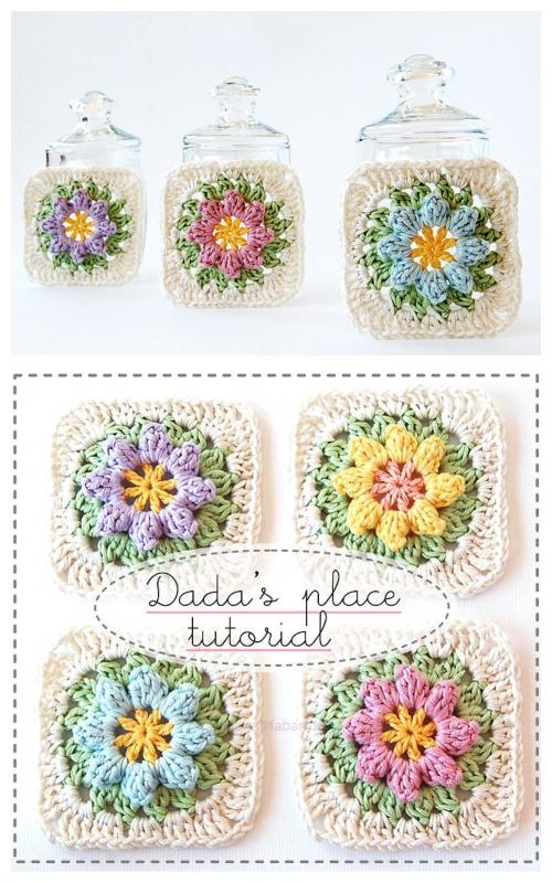 Crochet Primavera Flower Granny Square Blanket Free Crochet Pattern