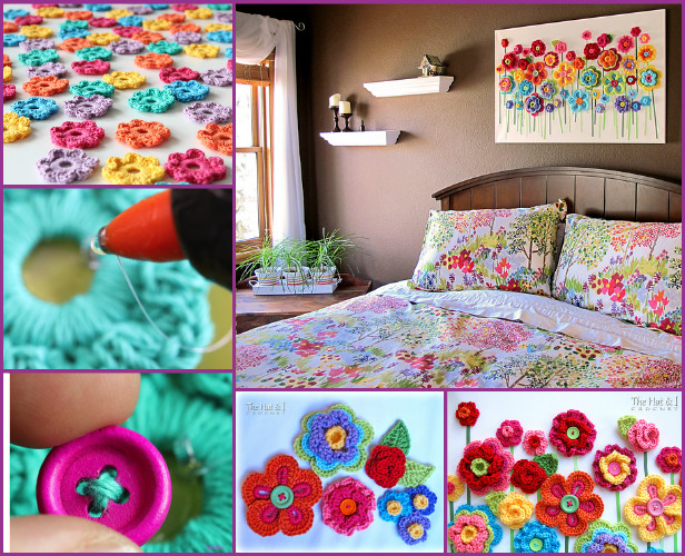 DIY Crochet Button Floral Wall Art Crochet Patterns