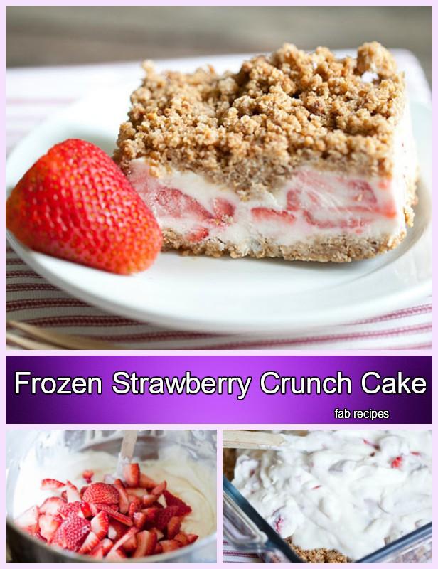 DIY Easy Frozen Strawberry Crunch Cake Recipe Tutorial
