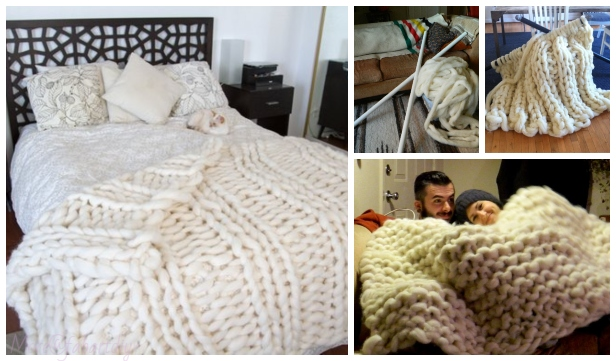 DIY Knit Cozy Giganto Blanket with PVC Pipe Knitting Pattern Video