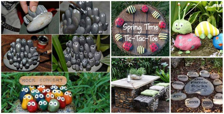 20 diy garden decorating ideas with rocks and stones for Homemade garden decor crafts