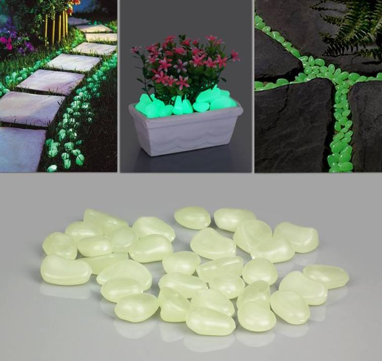 20+ Fabulous DIY Garden Decorating Ideas with Pebbles and Stones16-Glow in the dark pathway
