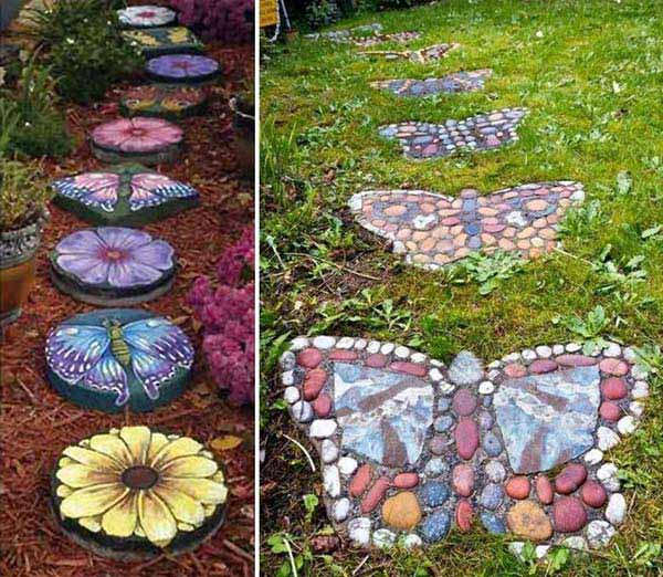 20+ Fabulous DIY Garden Decorating Ideas with Pepples and Stones1-DIY Stepping Stones.