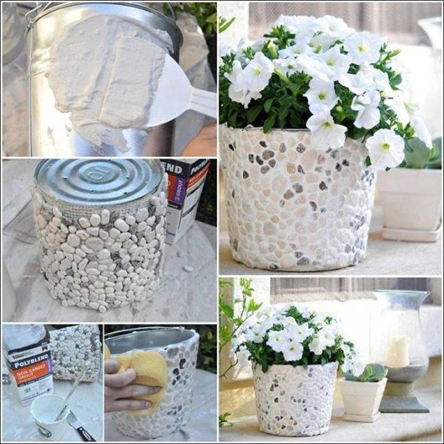 20+ Fabulous DIY Garden Decorating Ideas with Pepples and Stones11-DIY Rock Bucket Planter
