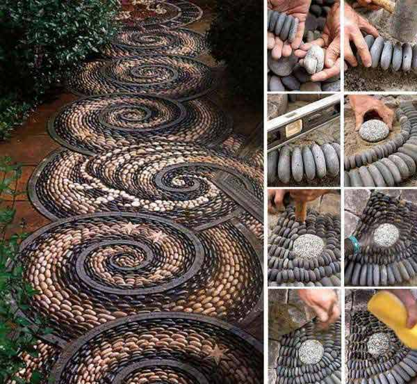 20+ Fabulous DIY Garden Decorating Ideas with Pepples and Stones2-Spiral Rock Mosaic Path