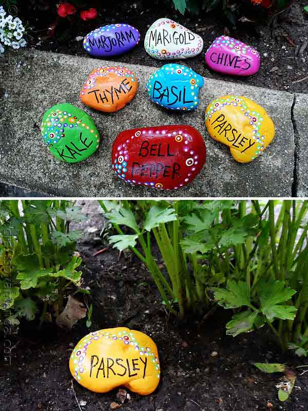 20+ Fabulous DIY Garden Decorating Ideas with Pepples and Stones3