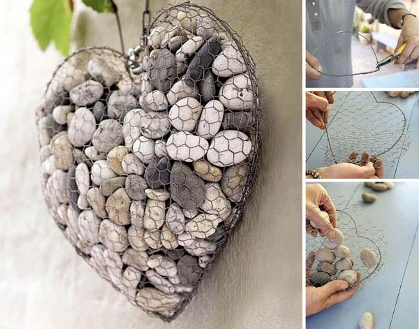 20+ Fabulous DIY Garden Decorating Ideas with Pepples and Stones4-Wire and Stone Heart