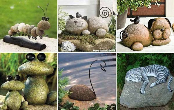 20+ Fabulous DIY Garden Decorating Ideas with Pepples and Stones5-Animal Stone.