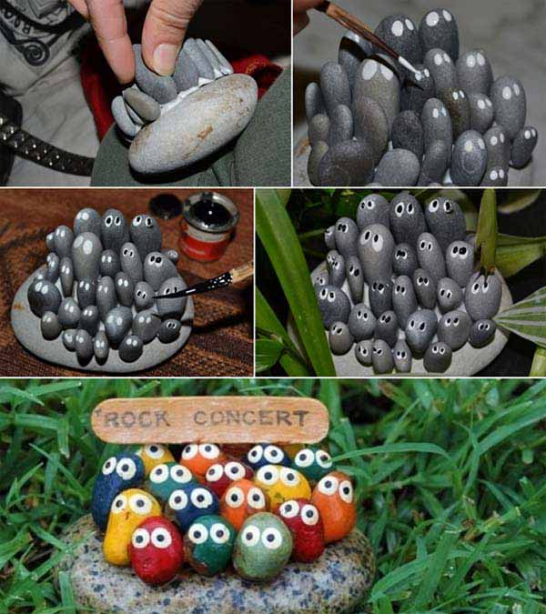 20+ Fabulous DIY Garden Decorating Ideas with Pebbles and Stones6-Rock Concert Stone Art Concert Bird