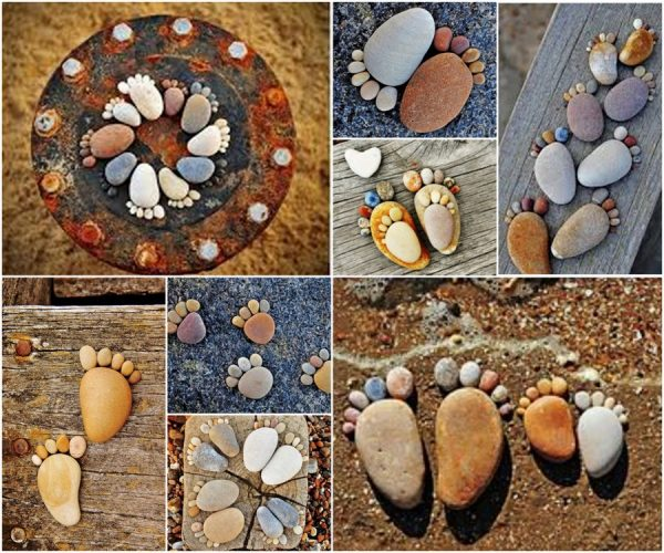 20+ Fabulous DIY Garden Decorating Ideas with Pebbles and Stones8-Rock Foot Prints