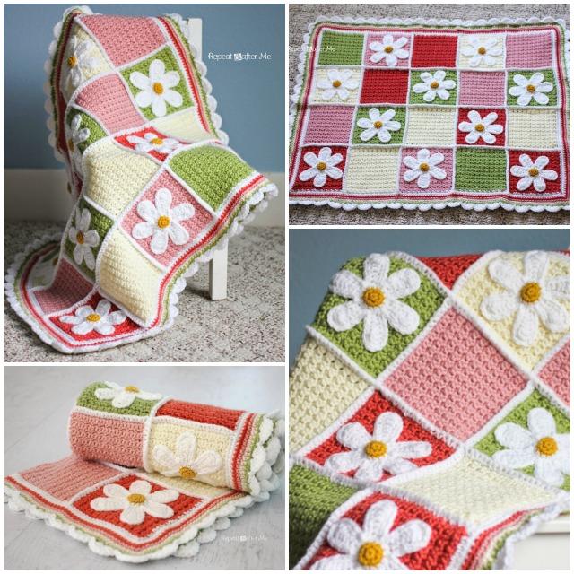 Crochet Crochet Daisy Afghan Baby Blanket Free Crochet Pattern