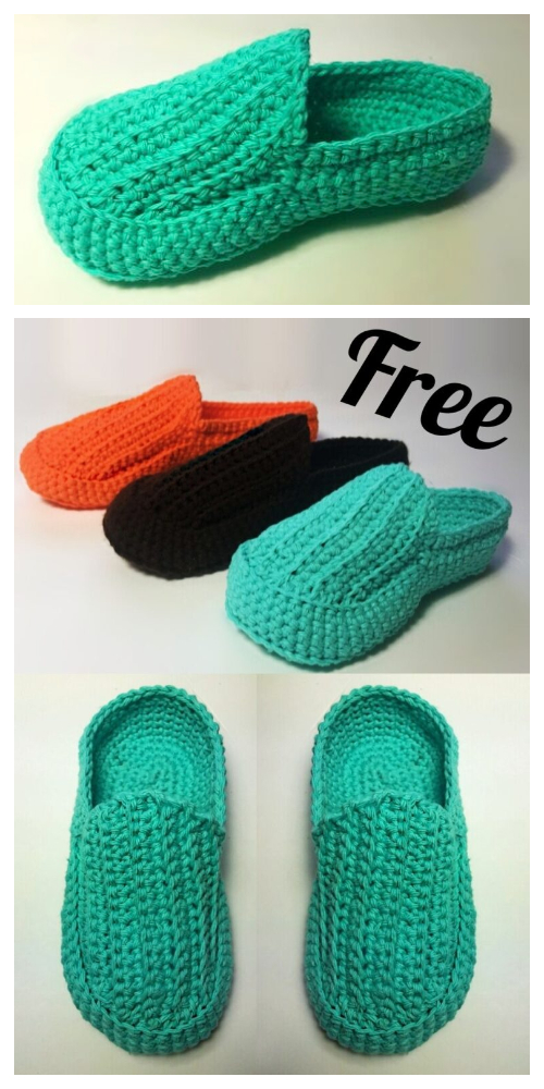 Easy Adult Loafer Slippers Free Crochet Patterns