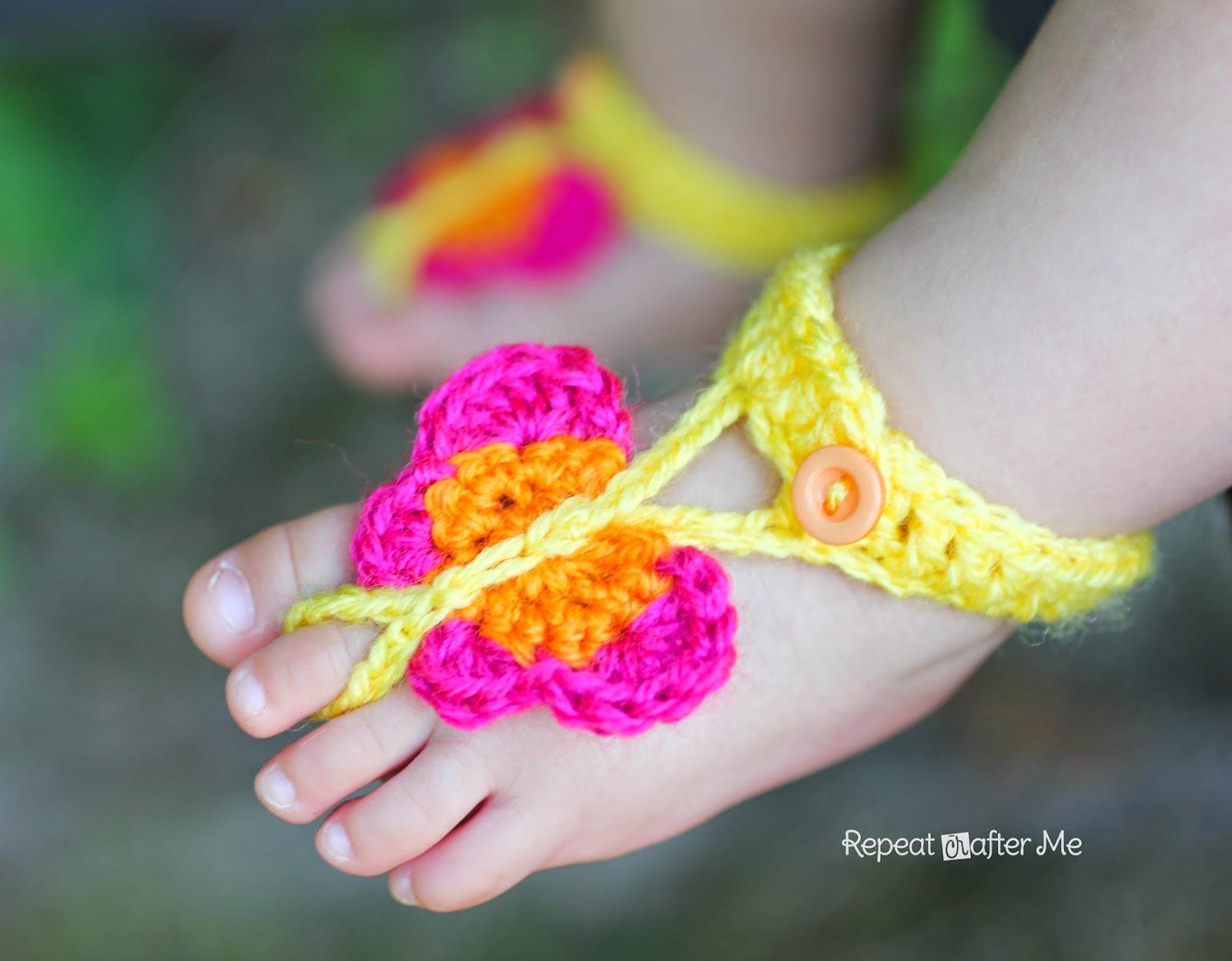 Crochet Butterfly Barefoot Sandals1