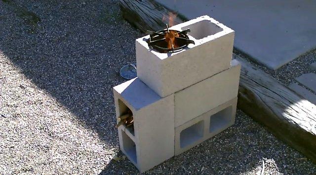 DIY Concrete Block Rocket Stove5