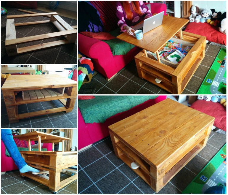 Pallet Coffee Table with Lifting Top and Landing Gear by ...