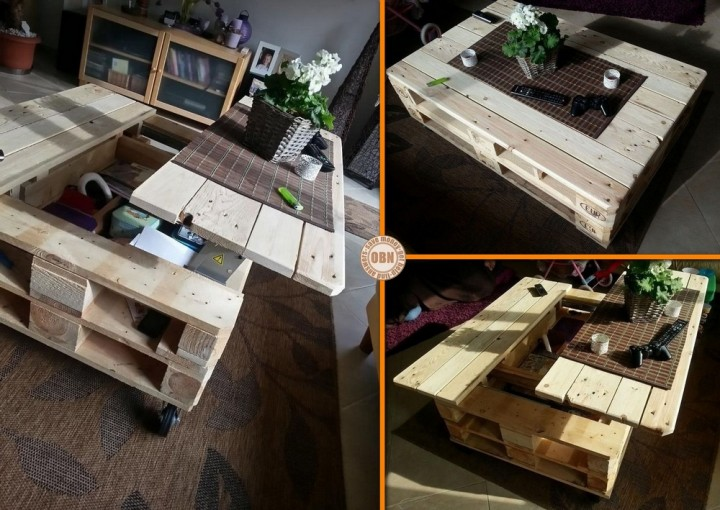Diy lift top pallet coffee table for Palette table de jardin