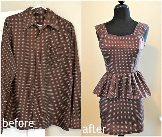 Creative Ideas to Repurpose Old Shirts into New Fashion - Turn men shirt into peplum dress